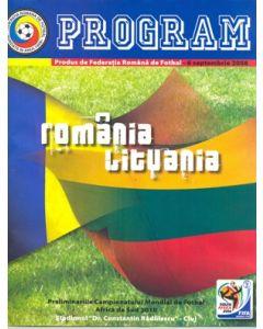 2008 Romania v Lithuania programme in Romanian 06/09/2008