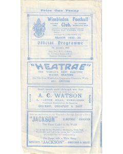Wimbledon v Finchley 7/1/1933 LSC Official programme