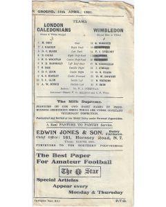 London Caledonians v Wimbledon 11/4/1931 Official Programme