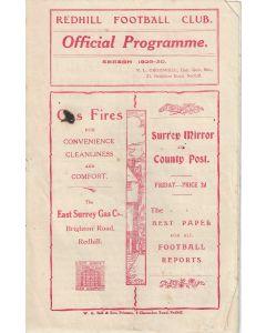 Redhill v Wimbledon 22/3/30 SSC Official Programme