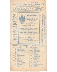 Wimbledon v Ilford 18/9/1926 Official Programme