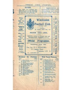 VERY RARE (some paper loss) - Wimbledon v Northampton Nomads First team Friendly 22/9/1923