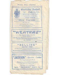 Wimbledon v Dulwich Hamlet 29/4/1939 Official Programme