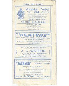 Wimbledon v Mitcham Wanderers Surrey Charity Shield 27/9/1930 Official Programme