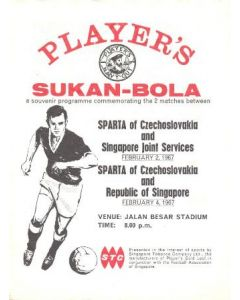 1967 Singapore Joint Services v Sparta Prague 02/02/1967 and Republic of Singapore v Sparta Prague 04/02/1967 in Singapore official programme