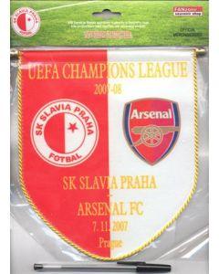 2007-2008 Champions League pennant Slavia Prague v Arsenal 07/11/2007