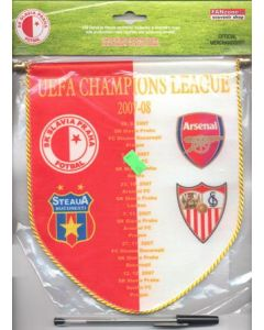 2007-2008 Champions League pennant Arsenal, Sevilla, Slavia Prague and Steaua