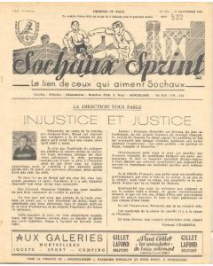 1955 Sochaux, France Official Programme Sochaux Sprint of 06/11/1955