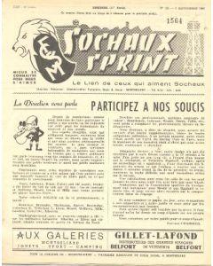 1956 Sochaux, France Official Programme Sochaux Sprint of 09/09/1956
