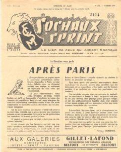 1957 Sochaux, France Official Programme Sochaux Sprint of 10/03/1957