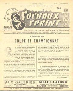 1957 Sochaux, France Official Programme Sochaux Sprint of 17/02/1957