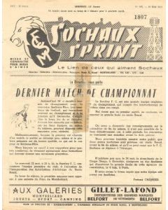 1957 Sochaux, France Official Programme Sochaux Sprint of 19/05/1957