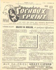 1956 Sochaux, France Official Programme Sochaux Sprint of 23/12/1956