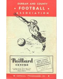 1952 South Africa Natal League - Thistle v Queen's Park and Berea Park v Railway official programme 26/07/1952