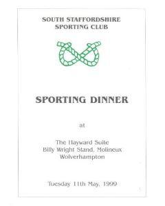 South Staffordshire Sporting Club Sporting Dinner Menu of 11/05/1999