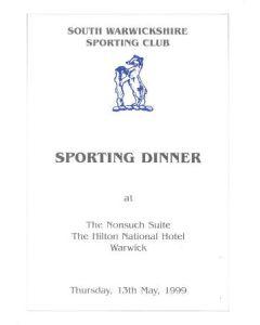 South Warwickshire Sporting Dinner menu 13/05/1999