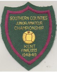 Southern Counties Junior Amateur Championship Kent Finalists 1948-1949 emblem