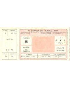 1978 Spain v Austria Directors Box unused World Cup Ticket
