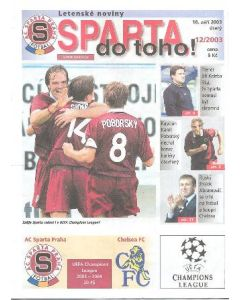 2003 Spatra Prague programme of December 2003, introducing the team and its most important matches in season 2003-2004
