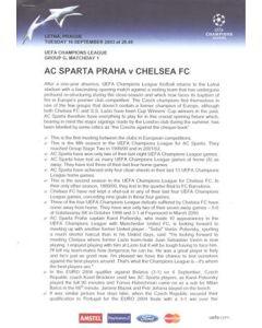 Sparta Prague v Chelsea official press pack 16/09/2003 Champions League
