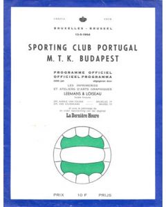 1964 Sporting Club Portugal v M.T.K. Budapest official programme 13/05/1964 European Cup