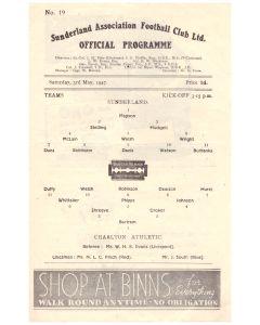 1947 Sunderland v Charlton Football Programme