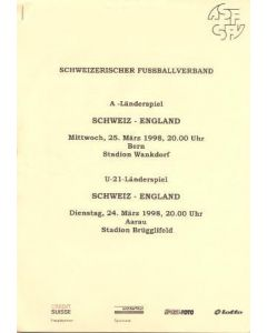 Switzerland v England press pack 25/03/1998