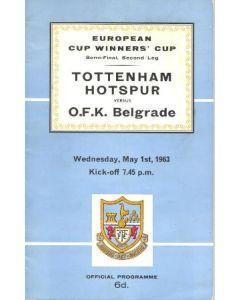1963 Cup Winners Cup Semi-Final 2nd Leg Tottenham Hotspur v O.F.K Belgrade official programme 01/05/1963 European Cup Winners Cup Semi-Final