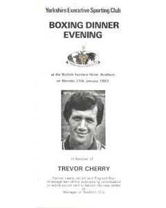 Yorkshire Executive Sporting Club Boxing Dinner Menu of 24/01/1983 In Honour of Trevor Cherry