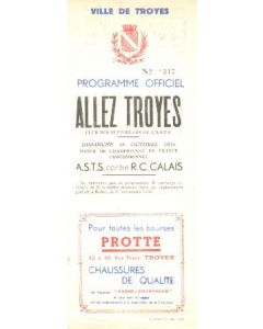 1936 Troyes St. Savine v Calais official programme 18/10/1936 issue of Allez Troyes Supporters Club