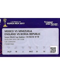 Under 20 World Cup Ticket England v Korea