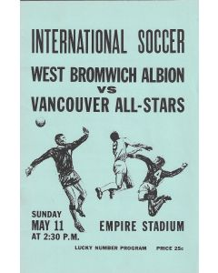 1969 Vancouver All Stars V West Bromwich Albion Football Programme