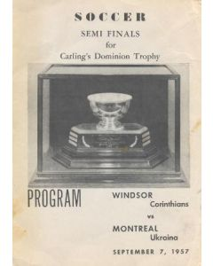 1957 Windsor Corinthians v Montreal Uktaina official programme 07/09/1957 Semi-Final for Carling Dominion Trophy