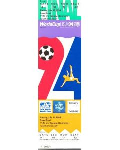 1994 World Cup USA 1994 ticket to the Opening Ceremony and the first football match 17/07/1994