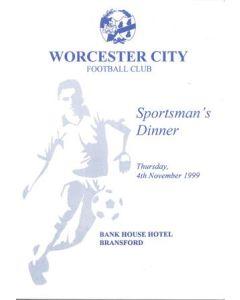 Worcester City FC Sportsman's Dinner menu 04/11/1999