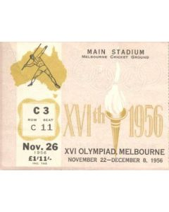 1956 XVIth Olympic Games in Melbourne ticket 08/12/1956