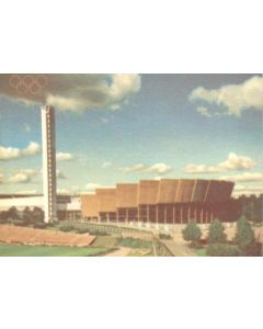 1952 15th Olympic Games in Helsinki, Finland colour postcard, featuring the Olympic Stadium