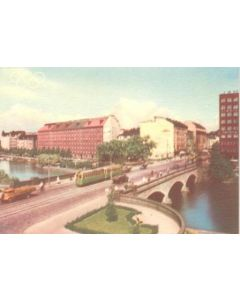 1952 15th Olympic Games in Helsinki, Finland colour postcard, featuring the Pitkasilta Bridge