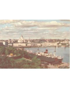 1952 15th Olympic Games in Helsinki, Finland colour postcard, featuring the South Harbour