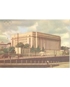 1952 Olympic Games in Helsinki, Finland colour postcard, featuring the Parliament House