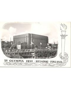 1952 15th Olympic Games in Helsinki, Finland postcard, featuring the Parliament House