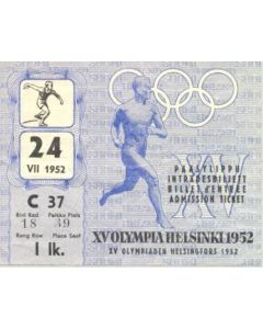 15th Olympics Helsinki 1952 Ticket Athletics 24/07/1952