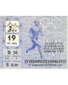 15th Olympics Helsinki 1952 Ticket Football 19/07/1952