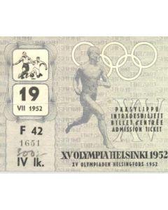 1952 15th Olympics Helsinki 1952 Ticket Football 19/07/1952
