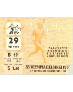 15th Olympics Helsinki 1952 Ticket Football 29/07/1952