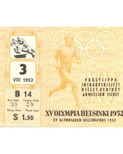 15th Olympics Helsinki 1952 Ticket Horse Riding 03/08/1952